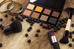 Makeup tools on Fur background stock photo