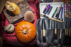Makeup tools with halloween objects Royalty Free Stock Photo