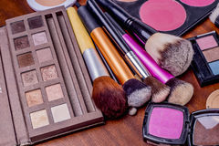 Makeup tools. Including eye shadows and brushes Stock Photography