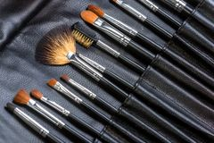Makeup Tools in a leather case Royalty Free Stock Photos
