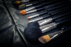 Makeup Tools in a leather case Stock Images