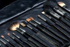 Makeup Tools in a leather case Royalty Free Stock Photography