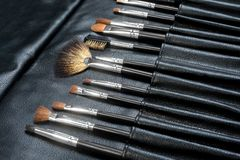 Makeup Tools in a leather case Stock Photography
