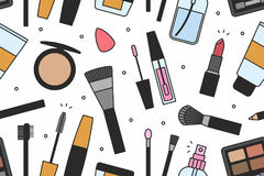 Makeup tools seamless pattern Royalty Free Stock Photography