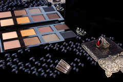 Makeup tools & Silver Accessories on Fur black background Royalty Free Stock Images