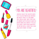 Makeup tools vector layout. Hand drawn Royalty Free Stock Images