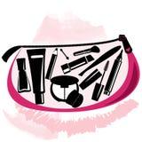 Makeup torba z beautician narzędziami inside royalty ilustracja