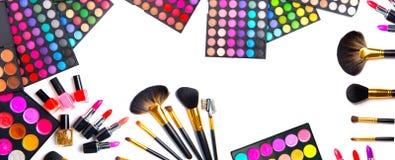 Makeup ustalona paleta z kolorowymi eyeshadows obraz royalty free