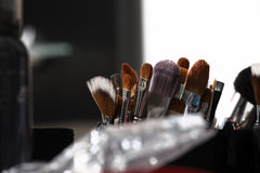 Makeup various colored brushes, closeup Stock Image