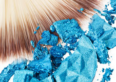 Makeup wide brush with blue eye shadow Royalty Free Stock Images
