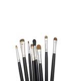 Makeupborstar för ögon på vit bakgrund Arkivbild