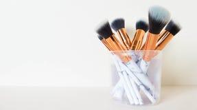 Makeupborstar för framsida royaltyfria bilder
