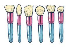 Makeupborstar för rodnad, pulver och att dra upp konturerna av stock illustrationer