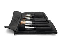 Makeupborstar i svart borstehållare Royaltyfria Foton