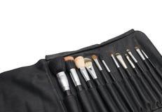 Makeupborstar i svart borstehållare Royaltyfria Bilder