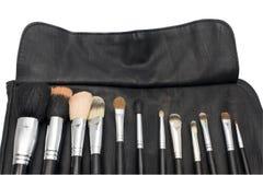 Makeupborstar i svart borstehållare Fotografering för Bildbyråer