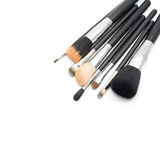 Makeupborstar på vit bakgrund Royaltyfria Bilder