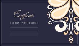 Makeupcertifikatmall skönhetskola eller repövningar för kosmetolog Sminkskönhetsmedel eller brunnsortomsorgdiplom vektor illustrationer