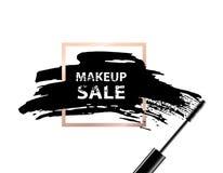 Makeupförsäljningsbaner Makeupförsäljningstext på mörk bakgrund och guld- ram också vektor för coreldrawillustration Royaltyfri Bild