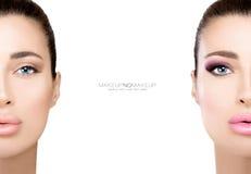 MakeupIngen-makeup Två halva framsidor som illustrerar skillnader arkivbild