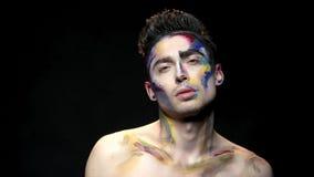 Makeupkonst, ung man stock video