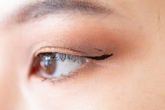 Makeupkonstnären applicerar den härliga kvinnaframsidan royaltyfri fotografi