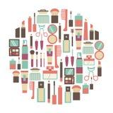 Makeupkort royaltyfri illustrationer