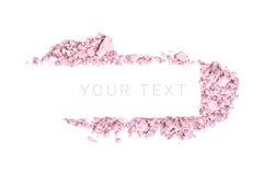 Makeuppulverbaner med text som isoleras på vit bakgrund Arkivfoto