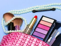 Makeups And Lipstick Means Beauty Products And Cosmetic stock images