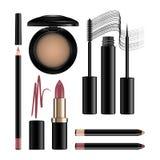 Makeupskönhetsmedeluppsättning som isoleras på vit Ögonskugga, eyeliner, går vektor illustrationer
