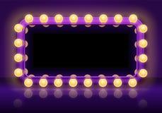 Makeupspegeltabell I kulisserna spegelljusram, logespegel med illustrationen för vektor för belysningkulor vektor illustrationer