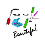 Makeuptillbehöruppsättning Borsta, pudra, läppstift, ögonblyertspennan, nai stock illustrationer