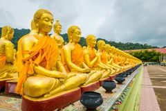 Makha Bucha Buddhist memorial park in Nakhon Nayok, Thailand. stock photos