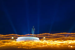 Makha Bucha Day. Candle lit from buddhists are moving Stock Photography