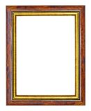 Makha wood frame with gold edges. Isolated on white Royalty Free Stock Image