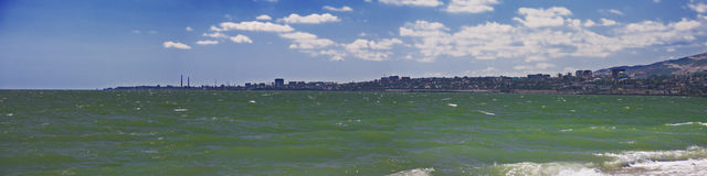 Makhachkala view from the sea. In a summer day panoramic view stock photography