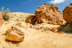 The Makhtesh Gadol, Boulders on the hill in Negev desert, Israel Royalty Free Stock Images