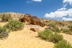 The Makhtesh Gadol, Boulders on the hill in Negev desert, Israel Royalty Free Stock Image