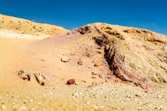 The Makhtesh Gadol, colored sands in Negev desert, Israel Stock Image