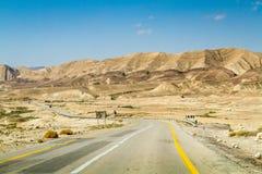 The Makhtesh Gadol, road in Negev desert, Israel Royalty Free Stock Photos