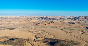 Makhtesh Ramon. Aerial view of negev desert at ramon area Royalty Free Stock Photography
