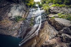 Makhuntseti美丽的瀑布在乔治亚,巴统,阿扎尔 库存照片