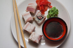 Maki with bacon Royalty Free Stock Image