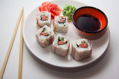 Maki with bacon Royalty Free Stock Images