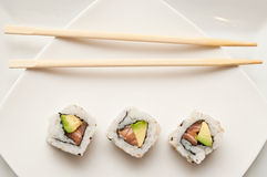 Maki and chopsticks Royalty Free Stock Photo