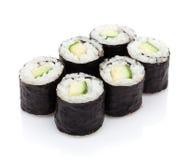 Maki del sushi con el pepino Foto de archivo libre de regalías