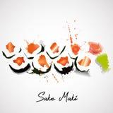 Maki mit Lachssatz Lizenzfreies Stockbild