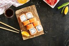 Maki Philadelphia Sushi Rolls immagini stock libere da diritti
