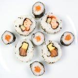 Maki Plate. Four uramaki and five hosomaki in a square shape Stock Photography