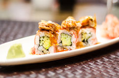 Maki roll with beef and foie gras Royalty Free Stock Photography